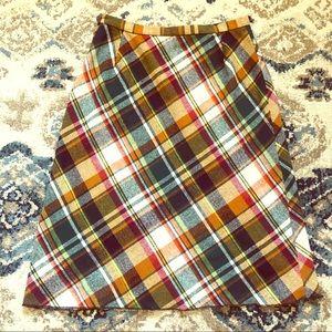 Vintage colorful plaid wool midi skirt